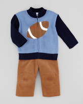 Florence Eiseman Football Knit Zip-Front Sweater, Blue/Navy, 12-24 Months