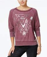 Pretty Rebellious Juniors' Raglan-Sleeve Metallic-Graphic Sweatshirt