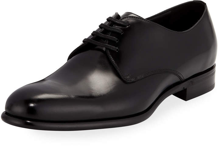 Dolce & Gabbana Smooth Lace-Up Dress Shoe, Black