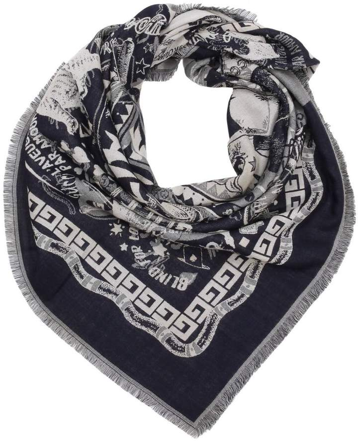 Gucci Scarf 110 X 110 Cm Wool And Silk Scarf With Multi-pattern And Love Writing