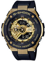 Casio GST-400G-1A9ER Men's G-Shock Chronograph World Time Resin Strap Watch, Black/Gold