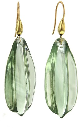 Ten Thousand Things Green Amethyst Leaf Cut Stone Earrings - Yellow Gold