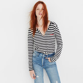 Madewell Embroidered Whisper Cotton Split-Neck Tee in Estelle Stripe