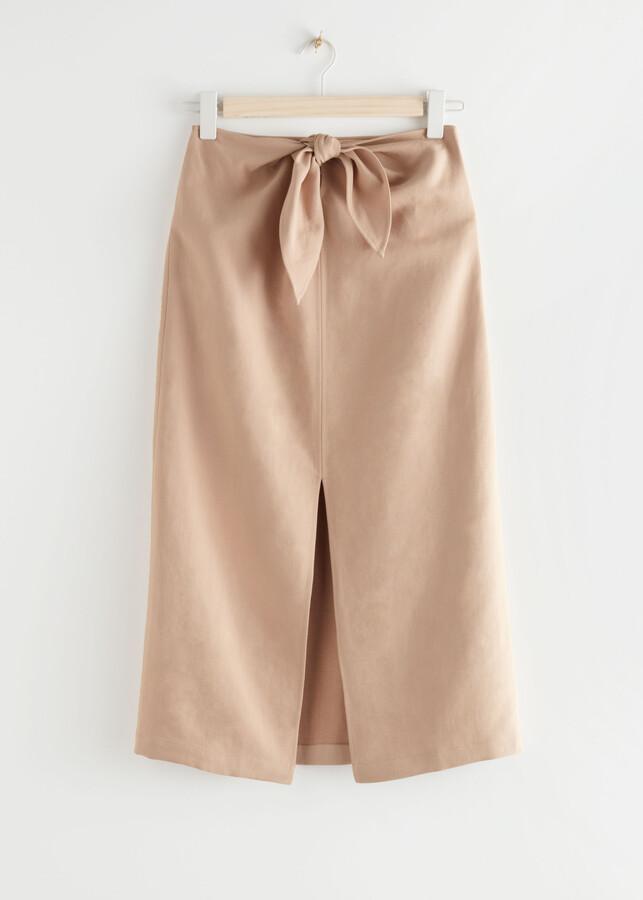 Thumbnail for your product : And other stories Front Tie Linen Blend Midi Skirt