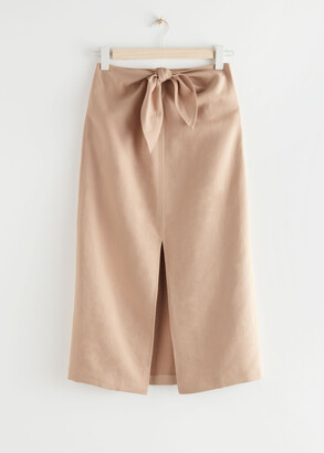 And other stories Front Tie Linen Blend Midi Skirt