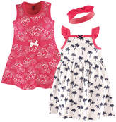 Hudson Baby Pink & White Tropical Dress & Headband Set - Infant