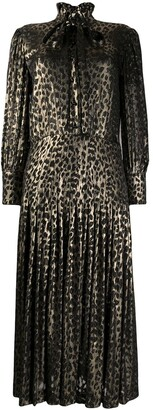 Saint Laurent Leopard Print Pleated Midi Dress