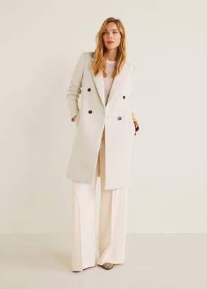 MANGO Structured wool coat ecru - XXS - Women
