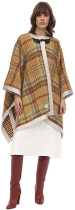 Lanvin Woven Checked Wool Cape