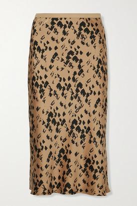 Anine Bing Bar Printed Silk-satin Midi Skirt - Yellow