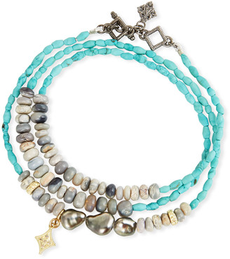 Armenta Old World Triple-Wrap Pearl, Turquoise & Opal Bracelet