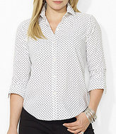 Lauren Ralph Lauren Plus Polka-Dot Dress Shirt