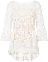 Oscar de la Renta boat neck floral lace blouse - women - Cotton/Nylon - 2