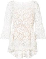 Oscar de la Renta boat neck floral lace blouse