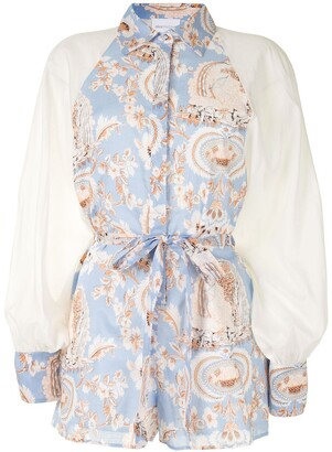 Alice McCall Balloon-Sleeved Floral-Print Playsuit