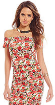 Gianni Bini Cher Ponte Off-the-Shoulder Floral Top