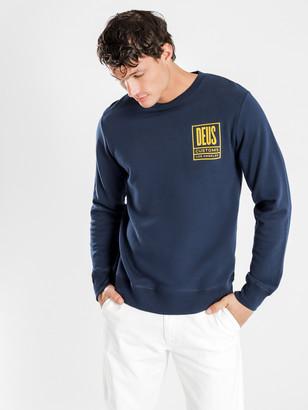 Deus Benzin Crew Sweater in Navy