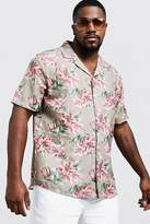 BoohooMAN Big & Tall Washed Floral Print Shirt