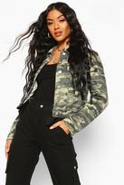 boohoo Ally Camouflage Denim Jacket khaki