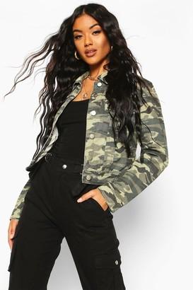 boohoo Camouflage Denim Jacket