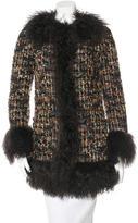 Dolce & Gabbana Mongolian Fur-Trimmed Virgin Wool Coat