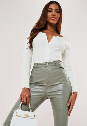 Missguided Petite White Rib Zip Cardigan