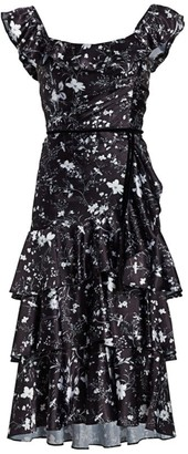 Marchesa Floral Flutter-Sleeve Ruffle Dress