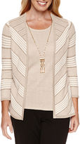 Alfred Dunner Tis The Season 3/4 Sleeve Layered Sweater