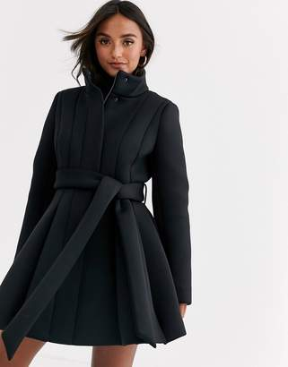 Asos Design DESIGN scuba panelled skater coat in black