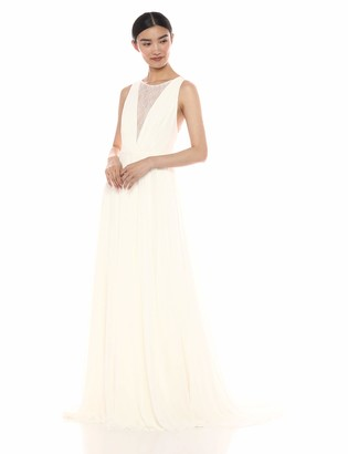 Jenny Yoo Women's Fallon Plunging V Neck A Line Chiffon Wedding Dress