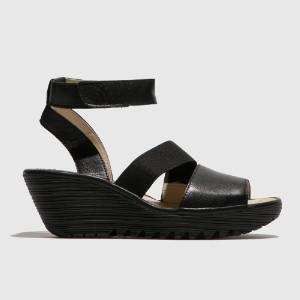 Fly London Black Ankle Strap Sandals - 37 | leather | black - Black/Black