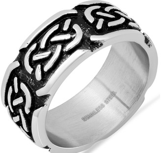 Steel by Design Men's Oxidized Tribal Band Ring