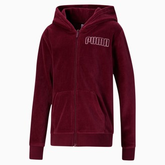 Puma Alpha Girls' Velour Full Zip Hoodie JR