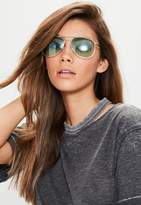 Missguided Green Aviator Sunglasses, Green