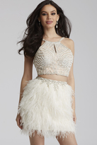 Jovani 50119 Two-Piece Feathered Short Dress