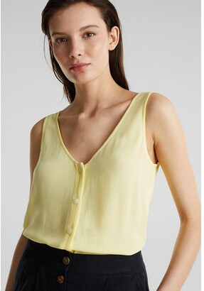 Esprit Sleeveless Shell Top with V-Neck Front and Back