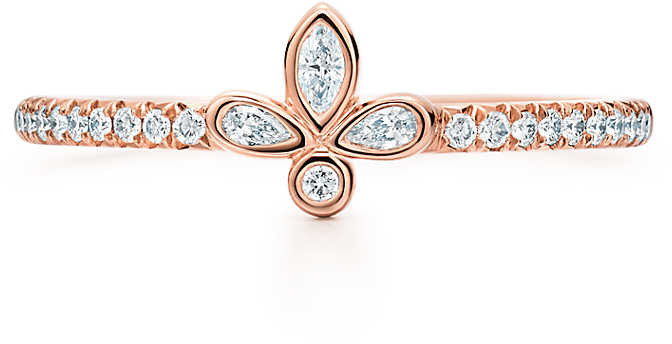 6a307c22aaeb0 & Co. Fleur de Lis band ring in 18k rose gold with diamonds, extra mini -  Size 8