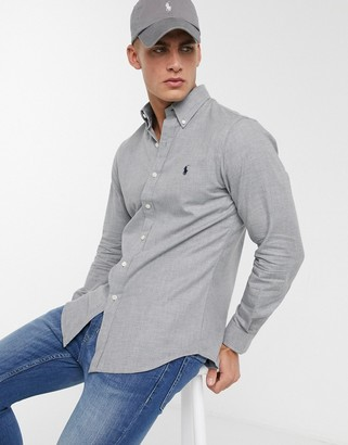 Polo Ralph Lauren slim fit flannel grey shirt with logo