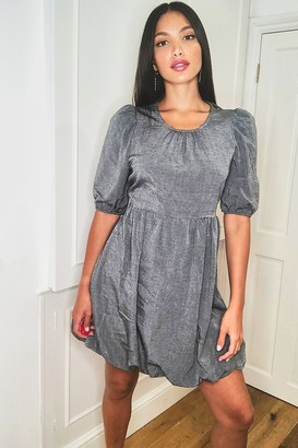 boohoo Tall Linen Look Puff Ball Mini Dress