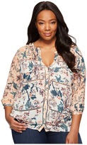 Lucky Brand Plus Size Mixed Print Peasant Top Women's Long Sleeve Button Up