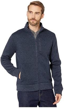 Lucky Brand Los Feliz Fleece Full Zip Mock Neck Jacket (Navy) Men's Clothing