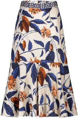 Johanna Ortiz Authentic Narrative floral stretch-cotton midi skirt