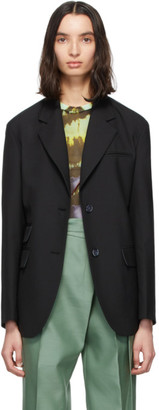 ANDERSSON BELL Black Wool Cinch Waist Blazer