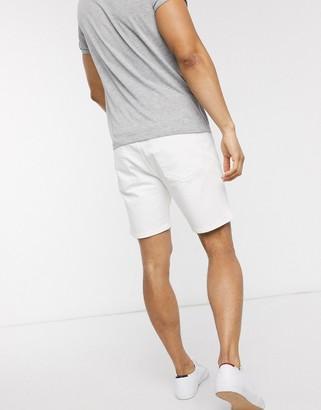 Selected denim shorts in white