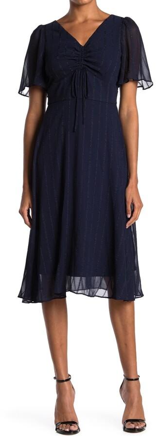 Gabby Skye Striped V-Neck Flutter Sleeve Midi Dress