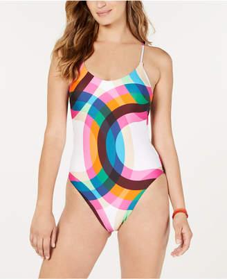 Trina Turk Kaleidoscope Printed Cross-Back One-Piece Swimsuit Women Swimsuit