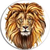 """Design Art Usa King Lion Aslan, Animal Round Metal Wall Art, 23"""""""