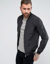 Pull&bear Bomber Jacket In Black