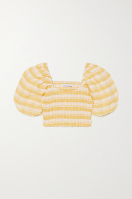 Faithfull The Brand + Net Sustain Robina Cropped Shirred Checked Linen Top - Yellow