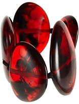 Jackie Brazil Tortoise Large Flat Riverstone Bracelet, Dark Red